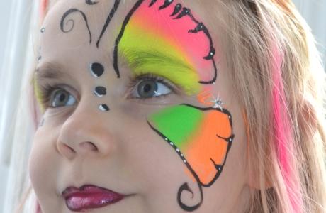 Kinderschminken - Schmetterling - neon